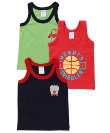 Tango Sleeveless Vests Pack of 3 - Navy Light Green Red