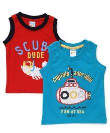 Tango Sleeveless T-Shirts Pack of 2 - Red Light Blue