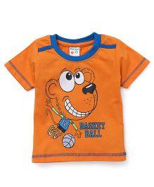 Tango Half Sleeves Contrast Neckline Tee Basketball Print - Orange