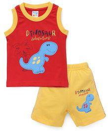 Tango Sleeveless T-Shirt Dinosaur Print And Shorts Set - Red Yellow