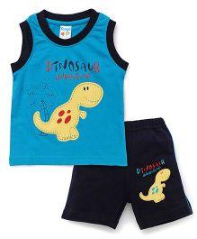 Tango Sleeveless T-Shirt Dinosaur Print And Shorts Set - Blue