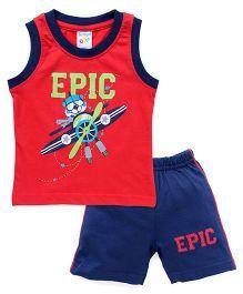 Tango Sleeveless T-Shirt Epic Print And Shorts Set - Red Navy