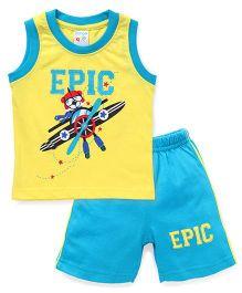 Tango Sleeveless T-Shirt Epic Print And Shorts Set - Yellow Blue