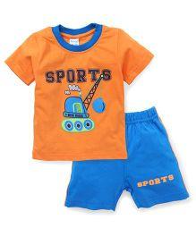 Tango Half Sleeves T-Shirt And Shorts Set Sports Print - Orange Blue