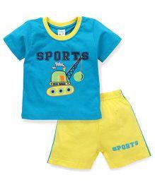 Tango Half Sleeves T-Shirt And Shorts Set Sports Print - Blue Yellow