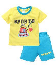 Tango Half Sleeves T-Shirt And Shorts Set Sports Print - Yellow Blue
