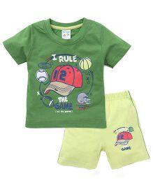 Tango Half Sleeves T-Shirt And Shorts Set With Print - Green