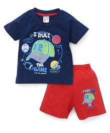 Tango Half Sleeves T-Shirt And Shorts Set With Print - Navy Red
