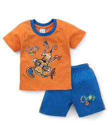 Tango Half Sleeves T-Shirt And Shorts Set With Print - Orange Blue