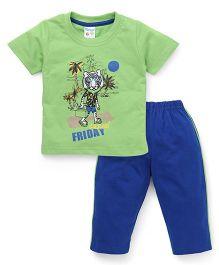 Tango Half Sleeves Night Suit Casual Friday Print - Green & Blue