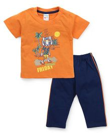 Tango Half Sleeves Night Suit Casual Friday Print - Orange & Blue