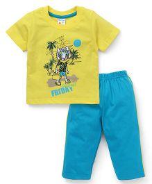 Tango Half Sleeves Night Suit Casual Friday Print - Yellow & Aqua Blue