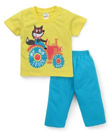 Tango Half Sleeves Night Suit My Big Truck Print - Yellow & Blue