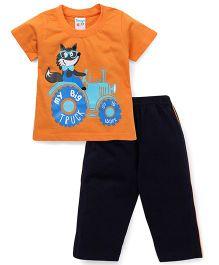 Tango Half Sleeves Night Suit My Big Truck Print - Orange & Navy Blue