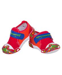 77 Seventy Seven Baby Canvas Shoes With Panda Applique - Red