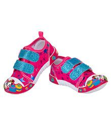 77 Seventy Flower Applique Glittery Strap Canvas Shoes - Fuchsia