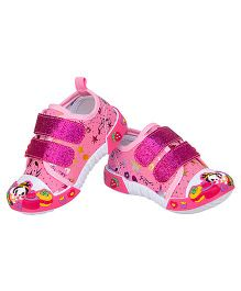 77 Seventy Flower Applique Glittery Strap Canvas Shoes - Pink