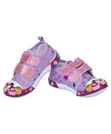 77 Seventy Flower Applique Glittery Strap Canvas Shoes - Purple