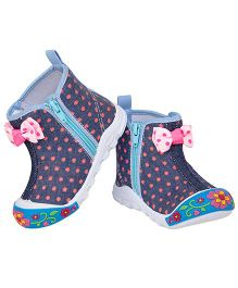 77 Seventy Seven Polka Dot Bow Applique Canvas Shoes - Blue