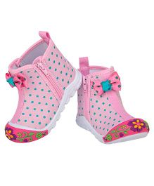 77 Seventy Seven Polka Dot Bow Applique Canvas Shoes - Pink