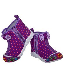 77 Seventy Seven Polka Dot Bow Applique Canvas Shoes - Purple