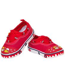 77 Seventy Seven Baby Canvas Shoes With Robot Face Applique - Red