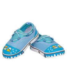 77 Seventy Seven Baby Canvas Shoes With Robot Face Applique - Sky Blue