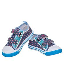 77 Seventy Seven Polka Dot Lace Border Baby Canvas Shoes - Navy Blue