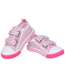 77 Seventy Seven Polka Dot Lace Border Baby Canvas Shoes - Pink