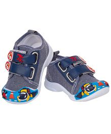 77 Seventy Seven Baby Double Strap Dog Applique Shoes - Navy Blue