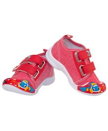 77 Seventy Seven Baby Double Strap Dog Applique Shoes - Red