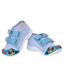 77 Seventy Seven Baby Double Strap Dog Applique Shoes - Sky Blue