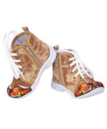 77 Seventy Seven Side Zipper With Lace Baby Canvas Shoes - Brown