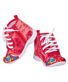 77 Seventy Seven Side Zipper With Lace Baby Canvas Shoes - Red