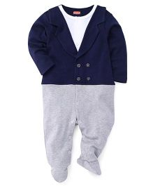 Babyhug Full Sleeves Footed Romper Blazer Design - Blue Grey