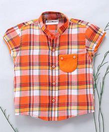 Murphy Mouse Chinese Collar Checkered Shirt - Orange