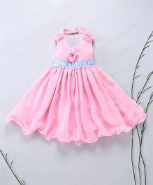 Murphy Mouse Flower Applique Halter Neck Dress - Pink
