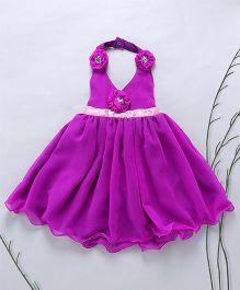 Murphy Mouse Flower Applique Halter Neck Dress - Purple