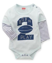 Babyhug Doctor Sleeves Onesies Born Play Print - Light Sky Blue