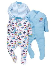 Kidi Wav Boat Print Set Of 3 Romper - Blue