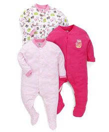 Kidi Wav Animal Prints Sleepsuit - Pink