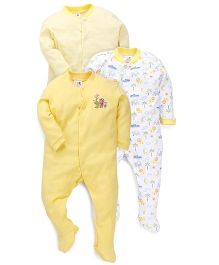 Kidi Wav Animal Prints Sleepsuit - Yellow