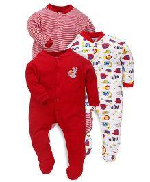 Kidi Wav Animal Prints Sleepsuit - Red