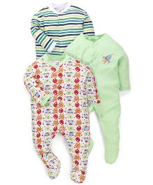 Kidi Wav Funny Monster Prints Sleepsuit - Green
