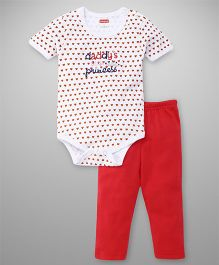 Babyhug Half Sleeves Onesie With Leggings Hearts Print - White Red