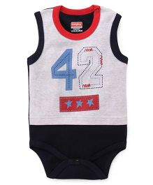 Babyhug Sleeveless Onsies 42 Print - Navy Grey Red