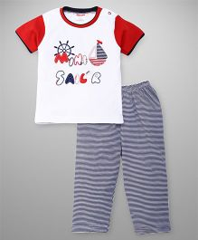 Babyhug Half Sleeves Night Wear Set Mini Sailor Patch - Red Blue