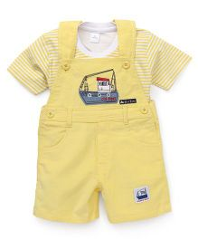 Olio Kids Dungaree Style Romper With T-Shirt Boat Patch - Yellow