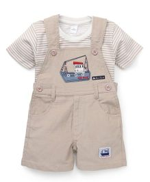 Olio Kids Dungaree Style Romper With T-Shirt Boat Patch - Fawn
