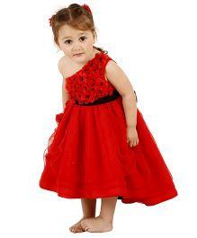 Kidology Crystal Flower Design Dress - Red